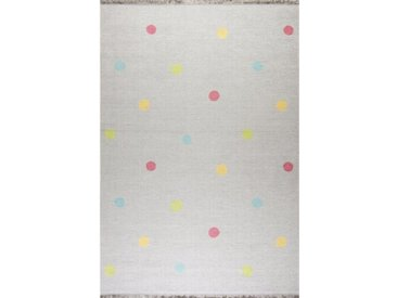 Flachgewebe-Kinderteppich Love You Dots in Grau