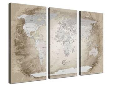Leinwandbild-Set World Map Beige - Deutsch, Grafikdruck in Beige