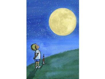 """Leinwandbild """"Boy and Moon"""" von Phyllis Harris, Kunstdruck"""