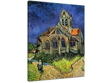 """Gerahmtes Leinwandbild """"Alte Meister Die Kirche von Auvers"""" von Vincent van Gogh, Kunstdruck"""