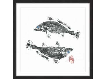 Gerahmtes Papierbild Croakers Go Ying Yang von Andrew Clay
