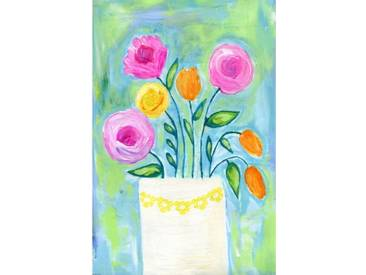 "Leinwandbild ""Flowers White Vase"" von Jill Lambert, Kunstdruck"