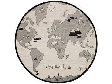Handgefertigter Teppich World aus Baumwolle in Schwarz/Weiß