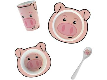 4-tlg. Kindergeschirr-Set Schweinchen