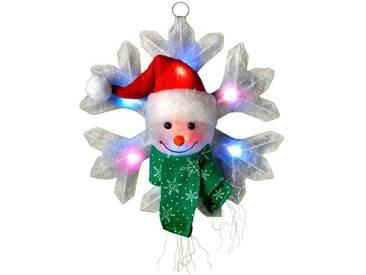 Beleuchtete Dekoration Schneeflocke mit Schneemann