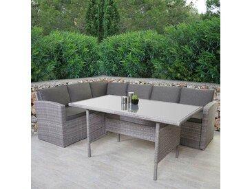 6-Sitzer Lounge-Set Slatestone aus Polyrattan mit Polster