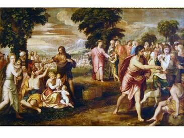 Leinwandbild Die Speisung der Fünftausend von Lambert Sustris, Kunstdruck