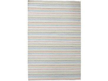 Handgefertigter Kelim-Teppich Deason aus Wolle in Grauweiß