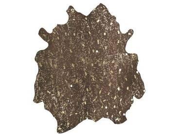 Handgefertigter Teppich Glam aus Kuhfell in Braun/Gold