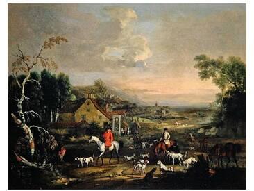 """Leinwandbild """"The Reverend Jemmet Browne at a Meet of Foxhounds, C.1730"""" von Peter Tillemans, Kunstdruck"""