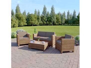 4-Sitzer Lounge-Set Langmann aus Polyrattan mit Polster