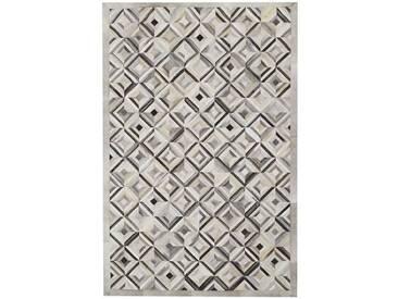 Handgefertigter Teppich Sao Paolo aus Kuhfell in Grau