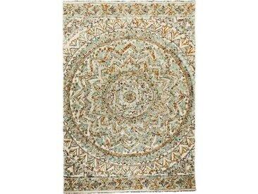 Handgefertiger Teppich aus Baumwolle in Beige