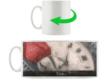 Kaffeebecher Zarte rote Rose auf antiker Uhr nostalgisch