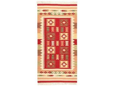 Handgefertigter Kelim-Teppich aus Wolle/Baumwolle in Rot/Creme