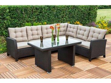 6-Sitzer Lounge Set Salerno aus Polyrattan mit Polster