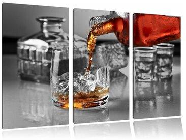"""3-tlg. Leinwandbilder-Set """"Whiskey im Whiskeyglas"""", Fotodruck"""