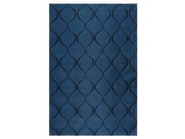 Handgefertigter Teppich Aramis aus Wolle in Blau