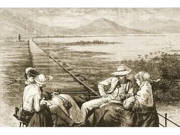 Gerahmter Kunstdruck An Inspection Car on the Pacific Railway Appraoching the Great Salt Lake, C. 1880 von Reverend Samuel Manning