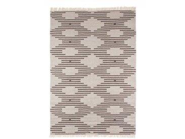 Handgefertigter Kelim-Teppich Tulane aus Wolle in Grau