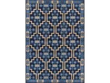 Teppich Rom in Blau/Beige