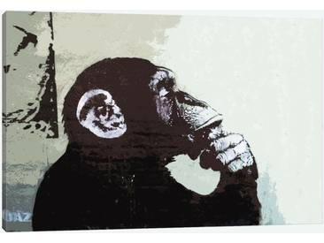 The Thinker Monkey by Banksy Graphic Art Print on Wrapped Canvas