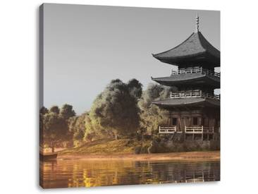 LeinwandbildPrachtvoller asiatischer Tempel an See