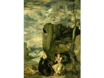 Gerahmtes Poster St. Anthony The Abbot and St. Paul The First Hermit von Diego Velázquez