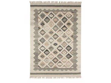 Handgefertigter Kelim-Teppich Tubbs aus Wolle in Beige