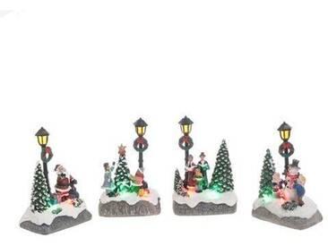 Dekorationsfiguren-Set Weihnachten in 4 Ausführungen mit Licht