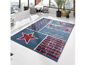 Teppich Patchwork Stars in Blau/Rot