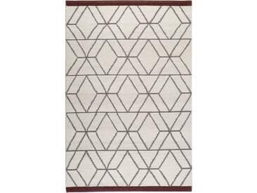 Handgefertigter Teppich in Wollweiß