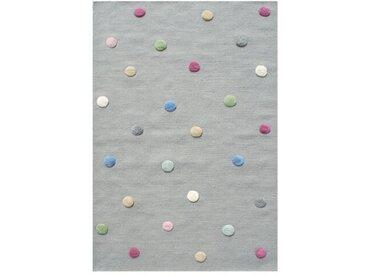 Handgefertigter Kinderteppich Colordots aus Wolle in Grau