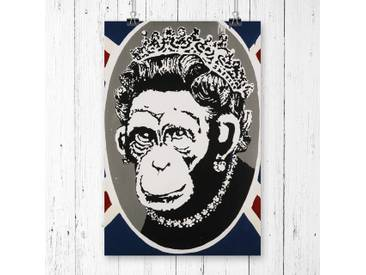 Monkey Queen Wall Graffiti by Banksy Graphic Art