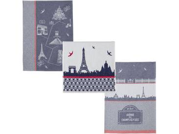 3-tlg. Geschirrtücher-Set Pariser Monumente