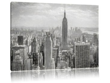 Leinwandbild Manhattan in New York in Schwarz/Weiß