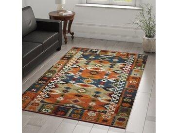Handgefertigter Teppich aus Wolle in Orange/Blau/Grün