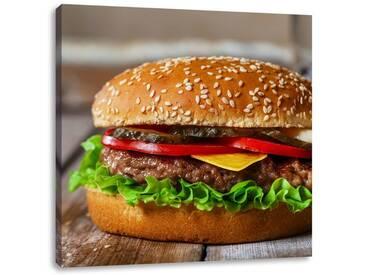 LeinwandbildLeckerer Burger mit frischen Tomaten