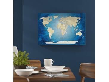Leinwandbild World Map Blue Ocean - Deutsch, Grafikdruck in Blau