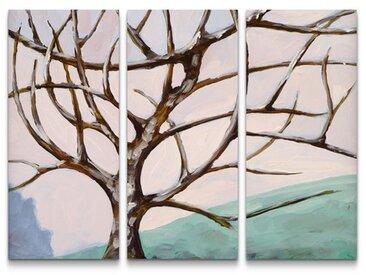 3-tlg.Leinwandbilder-SetGemälde eines kahlen Baumes