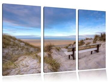 """3-tlg. Leinwandbild-Set """"Bank in den Dünen mit Blick auf das Meer"""", Fotodruck"""