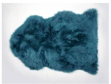 Handgefertiger Teppich aus Schaffell in Blau