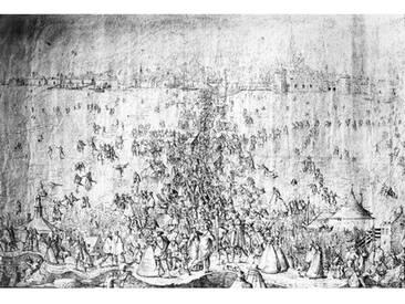 Leinwandbild Amusements on the River Escaut, Kunstdruck von Joris Hoefnagel