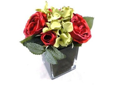 Kunstblume Rose und Hortensie Blumengesteck in Vase