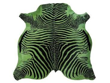 Teppich aus Kuhfell in Grün/Schwarz