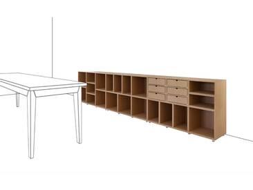 Design-Sideboard aus natur MDF, modulares Regal, 321x36x75cm, stocubo