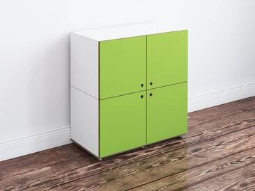 Kleine Kommode mit Türen, weiß-grün, MDF, modulares Regal, 72x36x75cm, stocubo