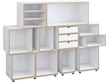 Designer Büroregal, weiß, MDF, induviduell konfigurierbar, 162x36x111cm, stocubo