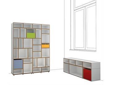 Design Regal + Sideboard, weiß, MDF, modular, 185x36x183cm, stocubo