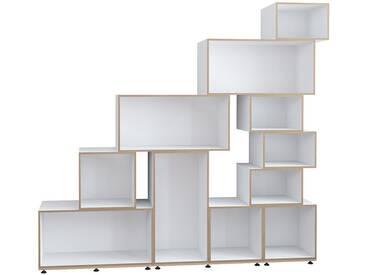 Modulares design Regal, weiß, MDF, nachhaltig, 170x36x186cm, stocubo